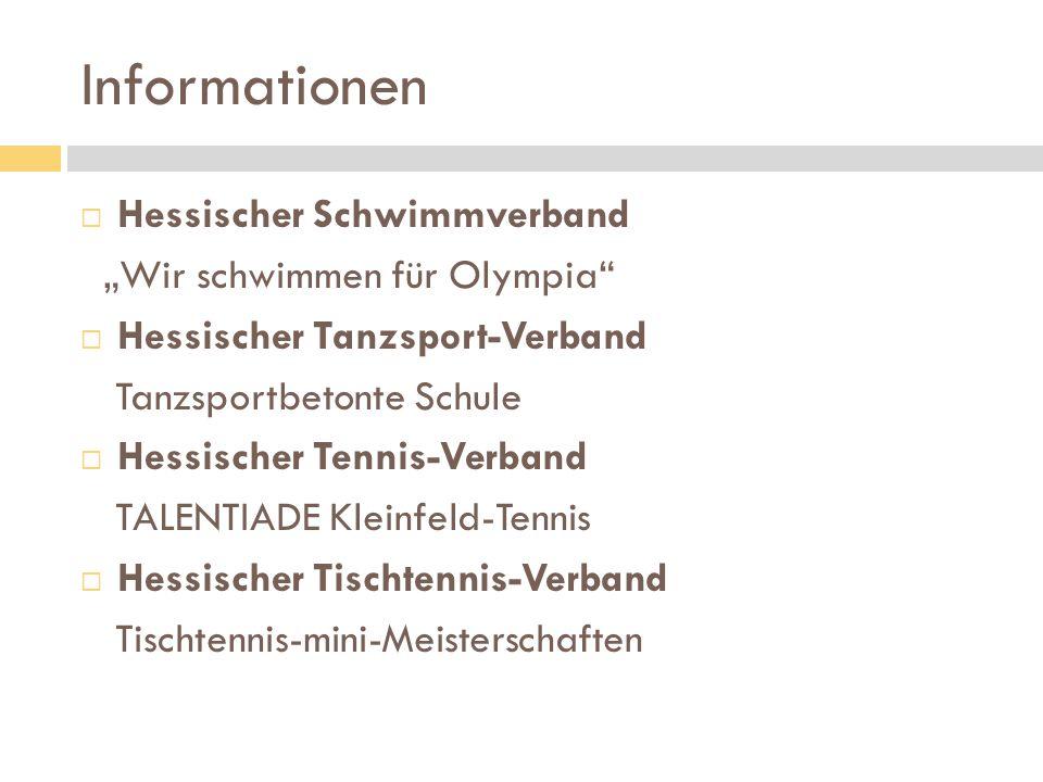 """Informationen Hessischer Schwimmverband """"Wir schwimmen für Olympia"""