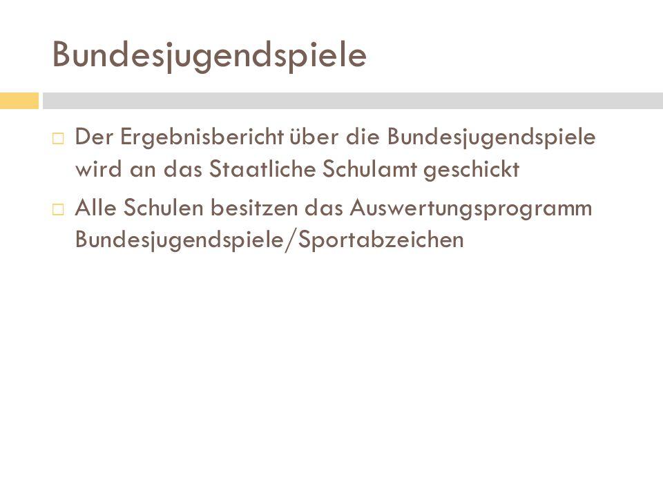 Bundesjugendspiele Der Ergebnisbericht über die Bundesjugendspiele wird an das Staatliche Schulamt geschickt.