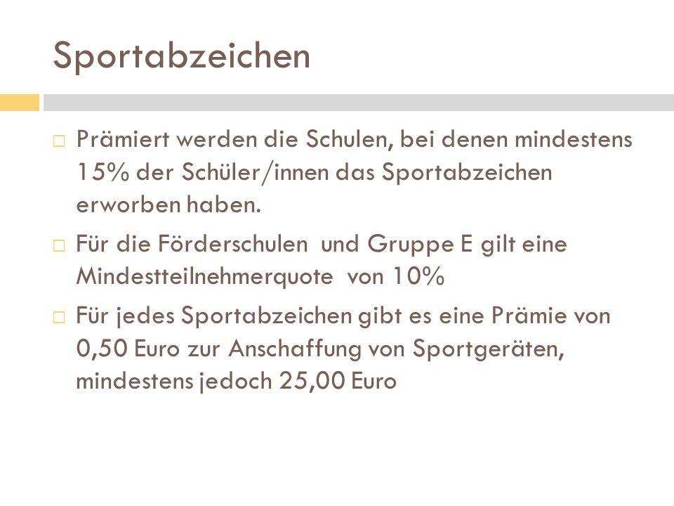Sportabzeichen Prämiert werden die Schulen, bei denen mindestens 15% der Schüler/innen das Sportabzeichen erworben haben.