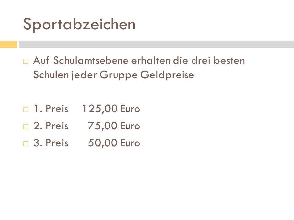 Sportabzeichen Auf Schulamtsebene erhalten die drei besten Schulen jeder Gruppe Geldpreise. 1. Preis 125,00 Euro.