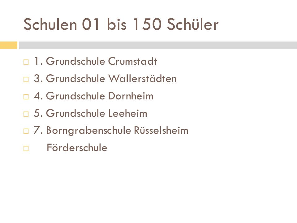 Schulen 01 bis 150 Schüler 1. Grundschule Crumstadt