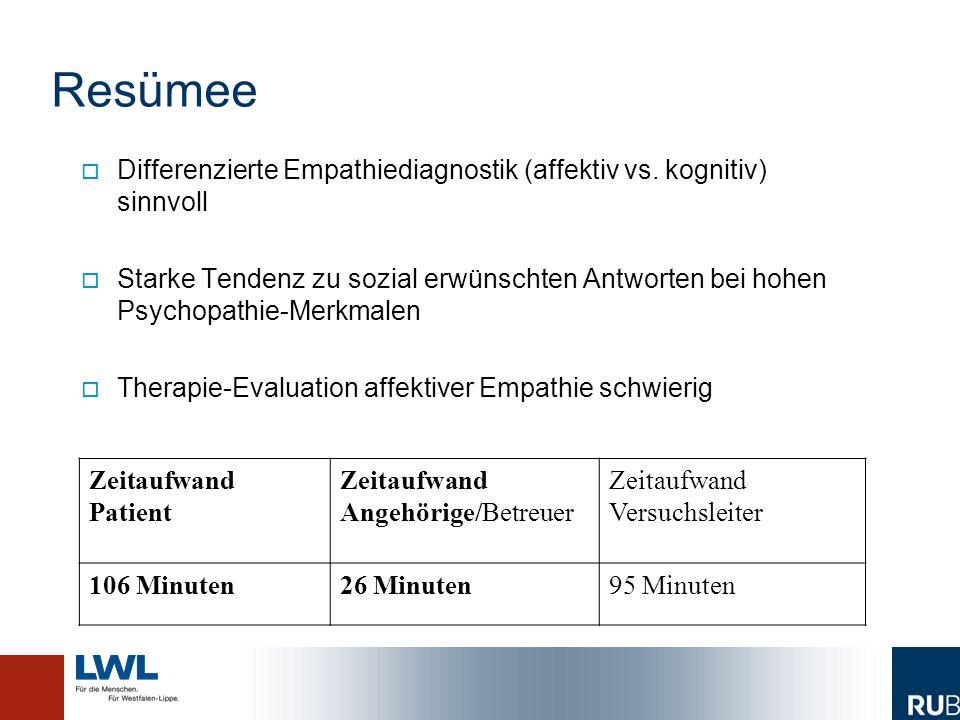 Resümee Differenzierte Empathiediagnostik (affektiv vs. kognitiv) sinnvoll.