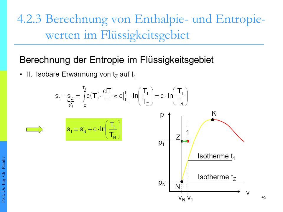 4. 2. 3. Berechnung von Enthalpie- und Entropie-