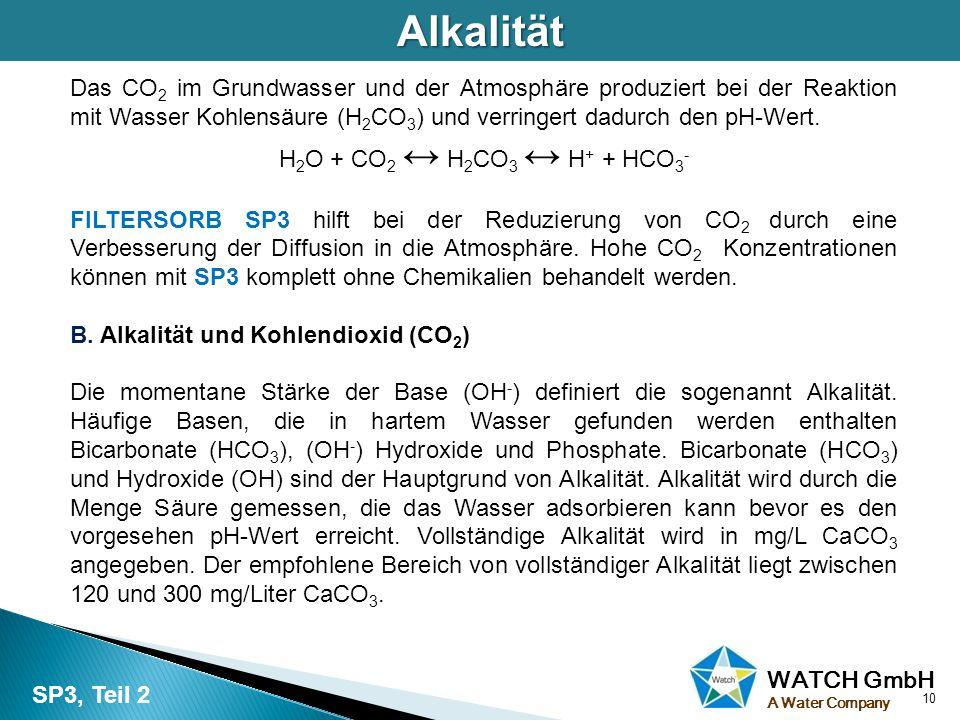Alkalität Das CO2 im Grundwasser und der Atmosphäre produziert bei der Reaktion mit Wasser Kohlensäure (H2CO3) und verringert dadurch den pH-Wert.