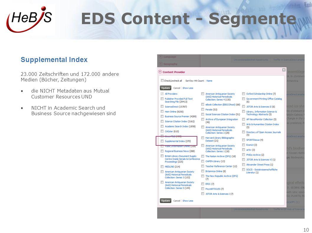 EDS Content - Segmente Supplemental Index 10