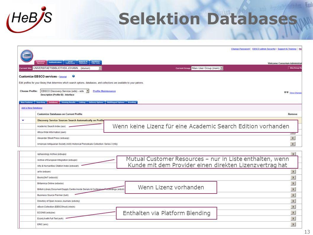 Selektion Databases Wenn keine Lizenz für eine Academic Search Edition vorhanden.