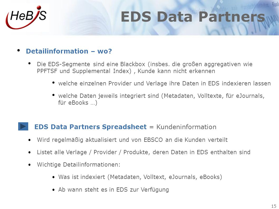 EDS Data Partners Detailinformation – wo