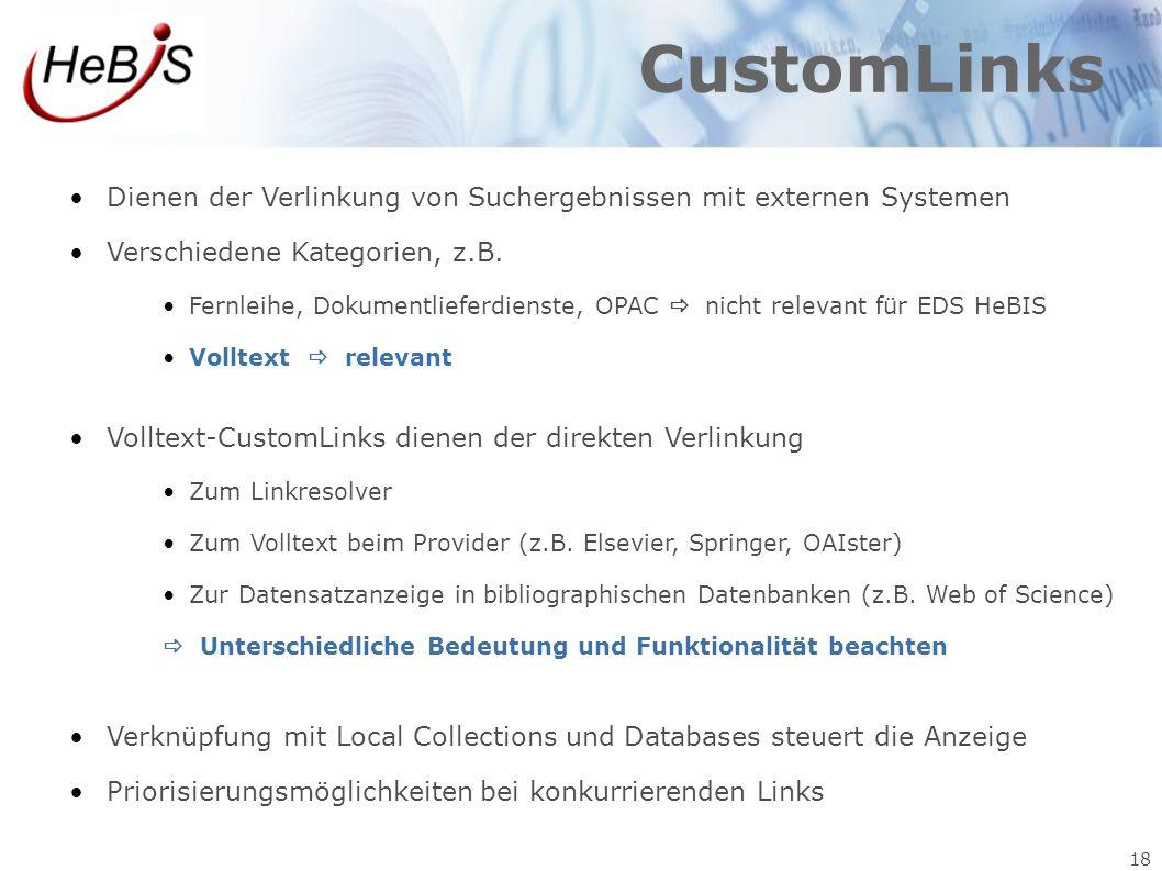 CustomLinks Dienen der Verlinkung von Suchergebnissen mit externen Systemen. Verschiedene Kategorien, z.B.