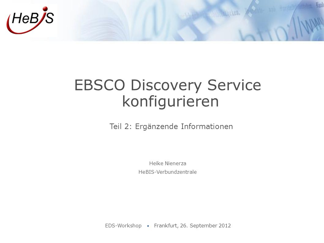 EBSCO Discovery Service konfigurieren