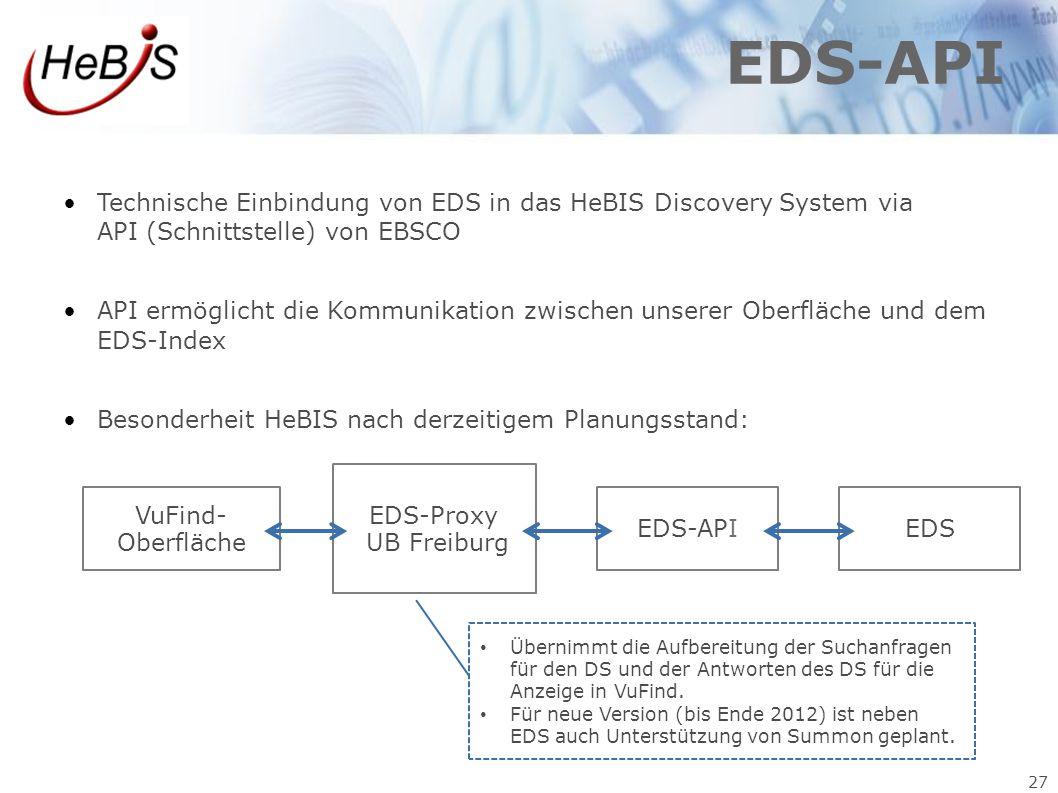 EDS-API Technische Einbindung von EDS in das HeBIS Discovery System via API (Schnittstelle) von EBSCO.
