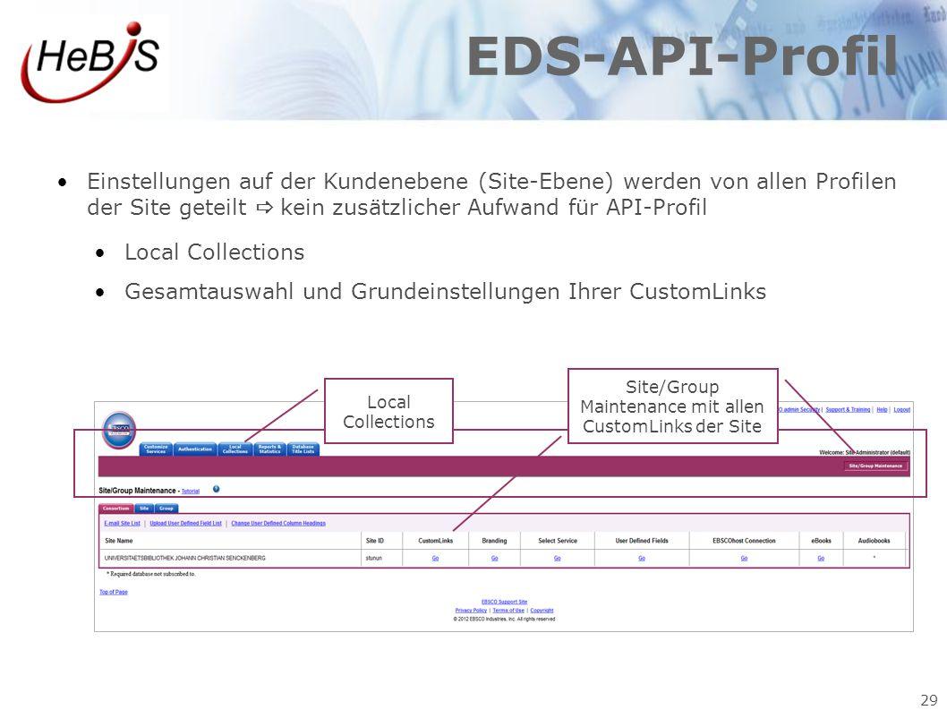 Site/Group Maintenance mit allen CustomLinks der Site