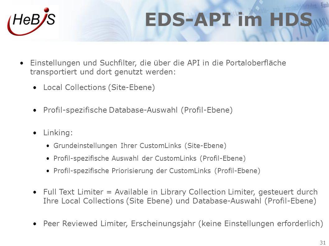 EDS-API im HDS Einstellungen und Suchfilter, die über die API in die Portaloberfläche transportiert und dort genutzt werden: