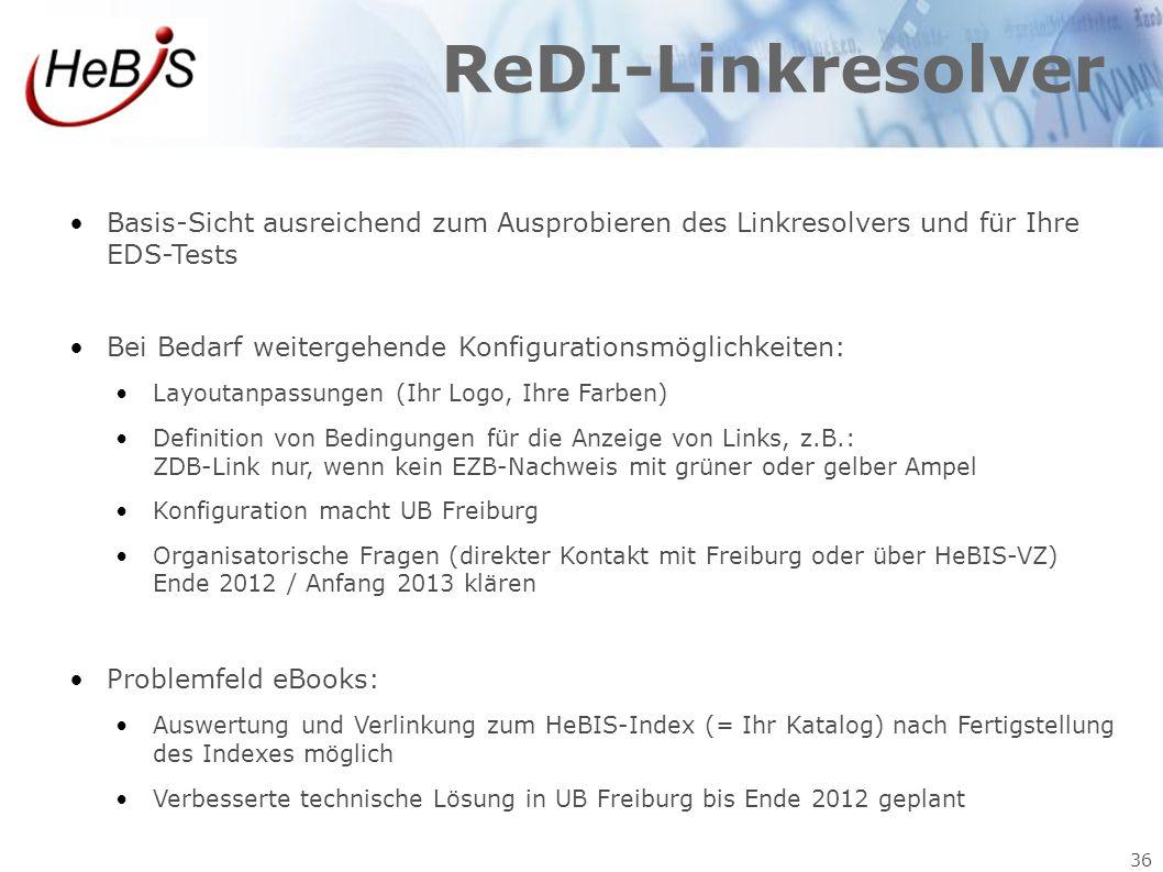ReDI-Linkresolver Basis-Sicht ausreichend zum Ausprobieren des Linkresolvers und für Ihre EDS-Tests.