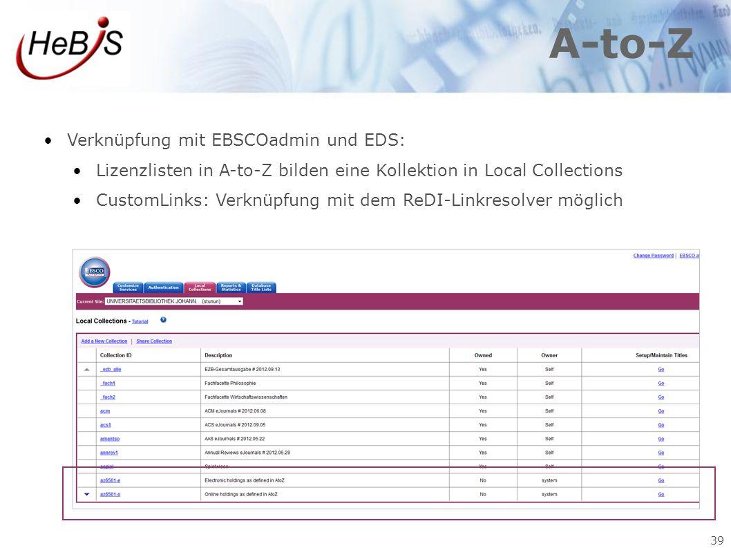 A-to-Z Verknüpfung mit EBSCOadmin und EDS: