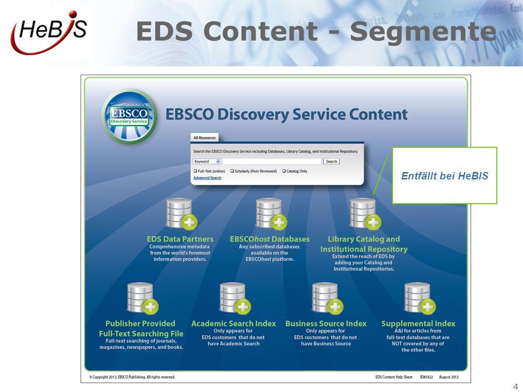 EDS Content - Segmente Entfällt bei HeBIS 4 4