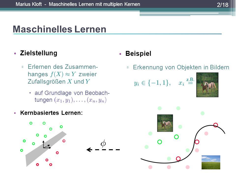 Maschinelles Lernen Weitere Beispiele Zielstellung Beispiel