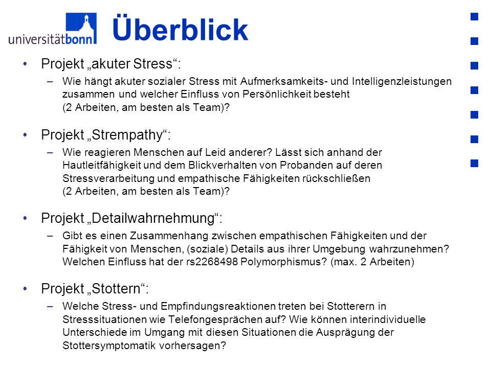 """Überblick Projekt """"akuter Stress : Projekt """"Strempathy :"""