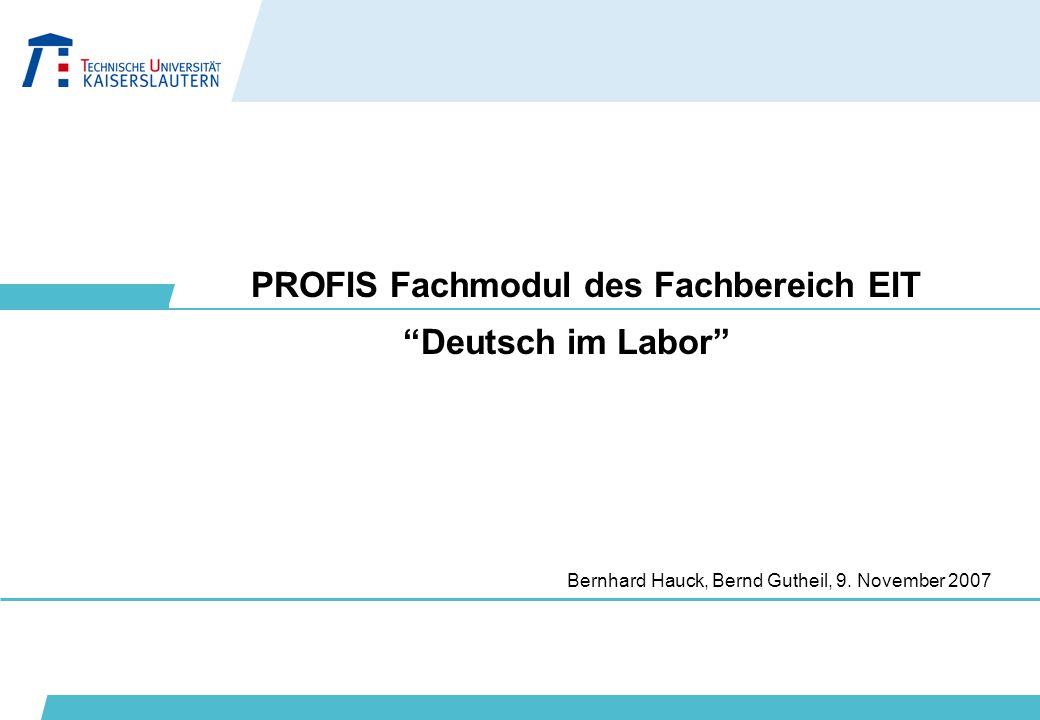PROFIS Fachmodul des Fachbereich EIT
