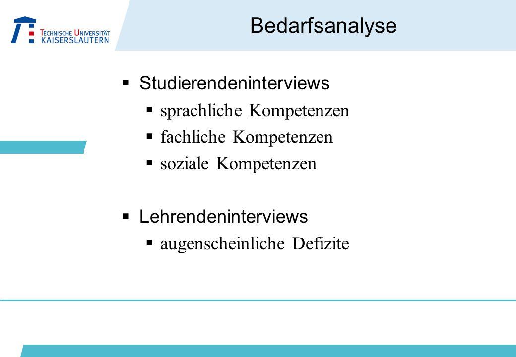 Bedarfsanalyse Studierendeninterviews sprachliche Kompetenzen