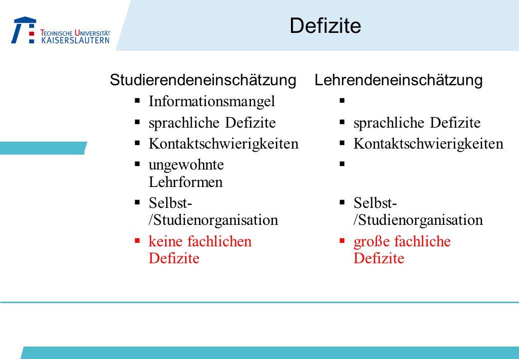 Defizite Studierendeneinschätzung Informationsmangel