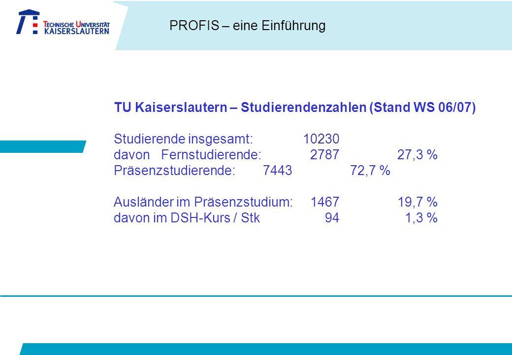TU Kaiserslautern – Studierendenzahlen (Stand WS 06/07)