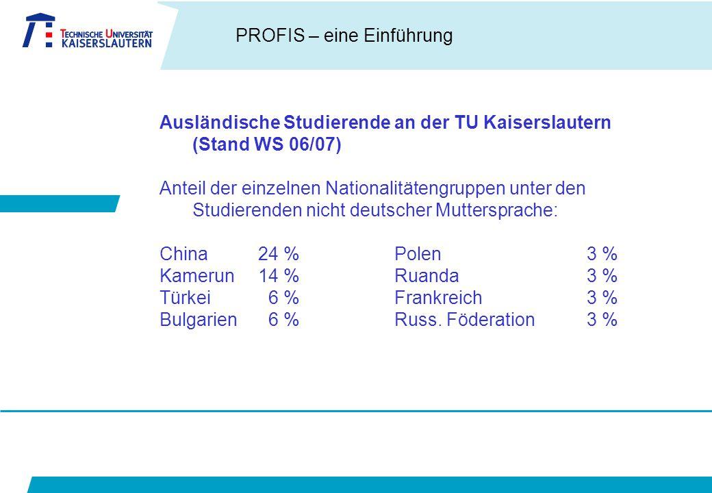 Ausländische Studierende an der TU Kaiserslautern (Stand WS 06/07)