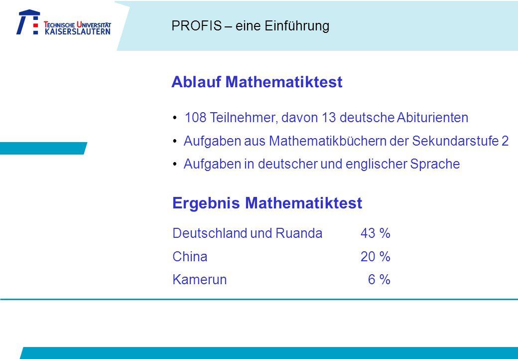 Ablauf Mathematiktest