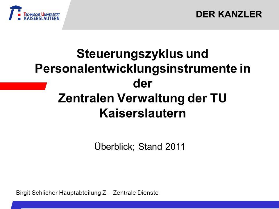DER KANZLER Steuerungszyklus und Personalentwicklungsinstrumente in der Zentralen Verwaltung der TU Kaiserslautern.
