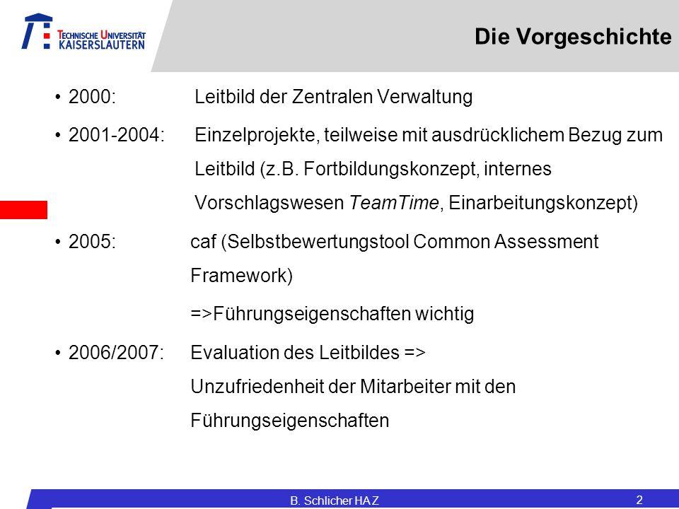 Die Vorgeschichte 2000: Leitbild der Zentralen Verwaltung