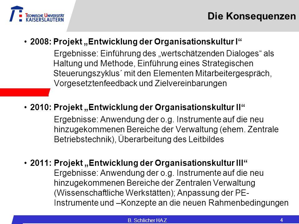 """Die Konsequenzen 2008: Projekt """"Entwicklung der Organisationskultur I"""
