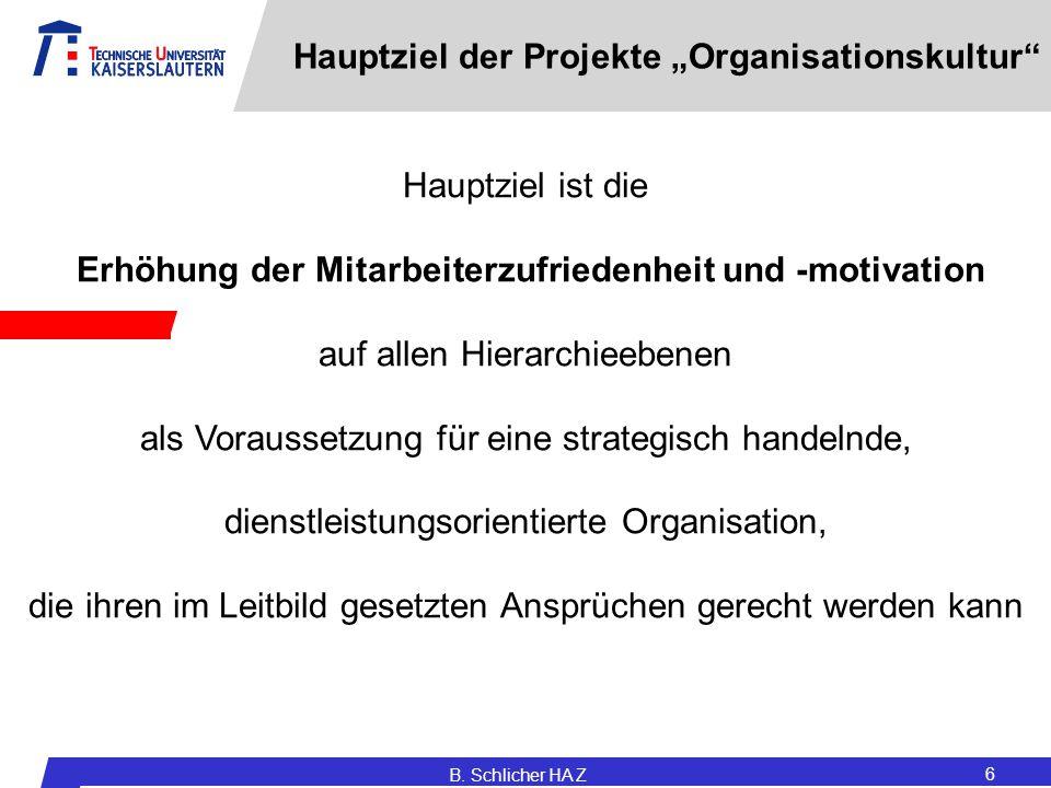 """Hauptziel der Projekte """"Organisationskultur"""