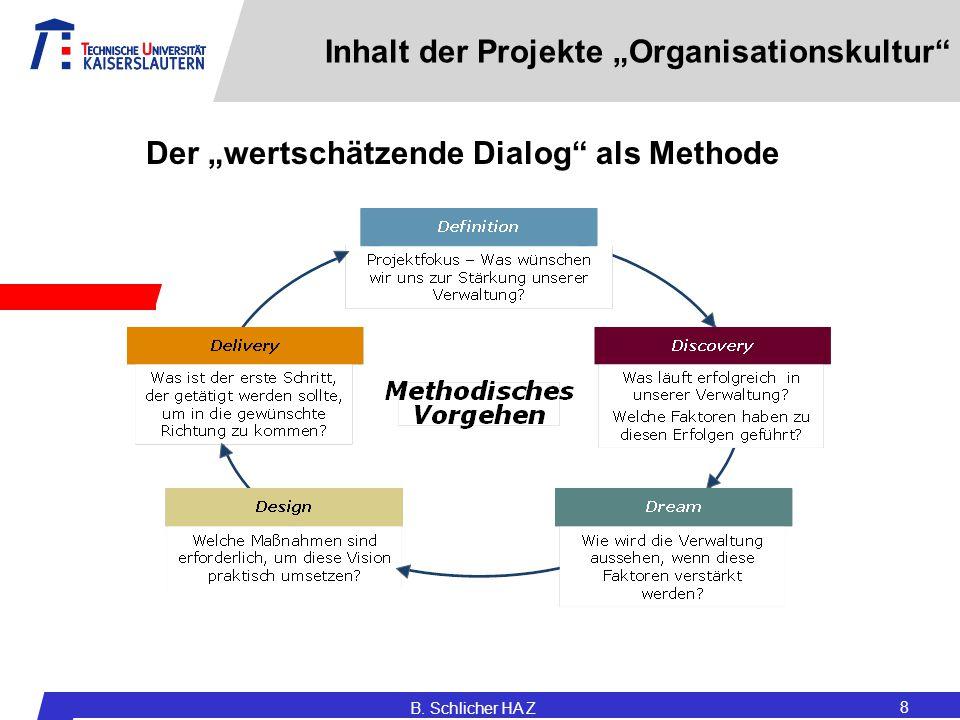 "Inhalt der Projekte ""Organisationskultur"