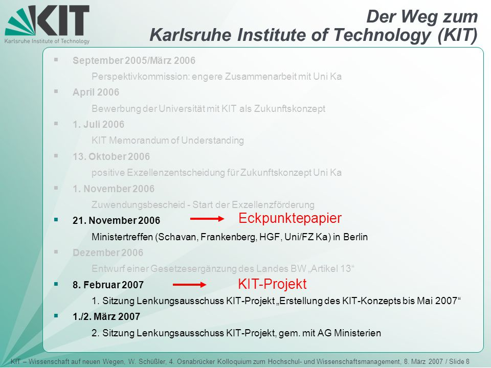 Der Weg zum Karlsruhe Institute of Technology (KIT)