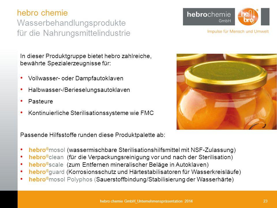 hebro chemie Wasserbehandlungsprodukte für die Nahrungsmittelindustrie