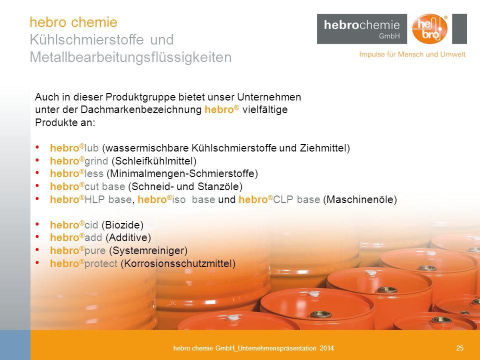 hebro chemie Kühlschmierstoffe und Metallbearbeitungsflüssigkeiten