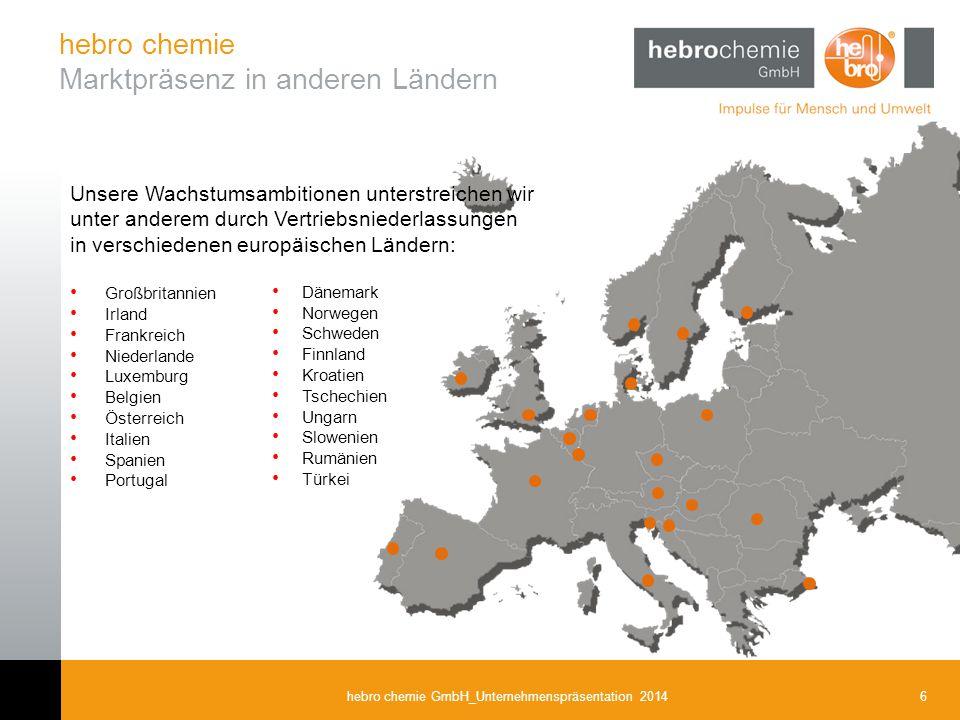 hebro chemie Marktpräsenz in anderen Ländern