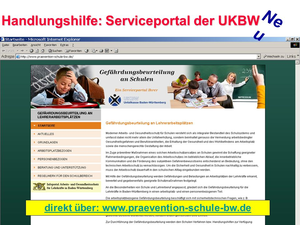 Neu Handlungshilfe: Serviceportal der UKBW