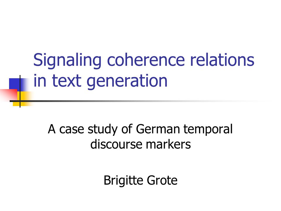 Signaling coherence relations in text generation