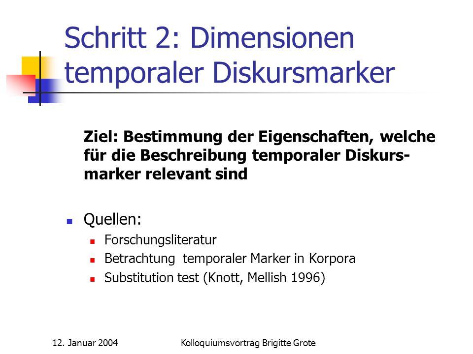 Schritt 2: Dimensionen temporaler Diskursmarker