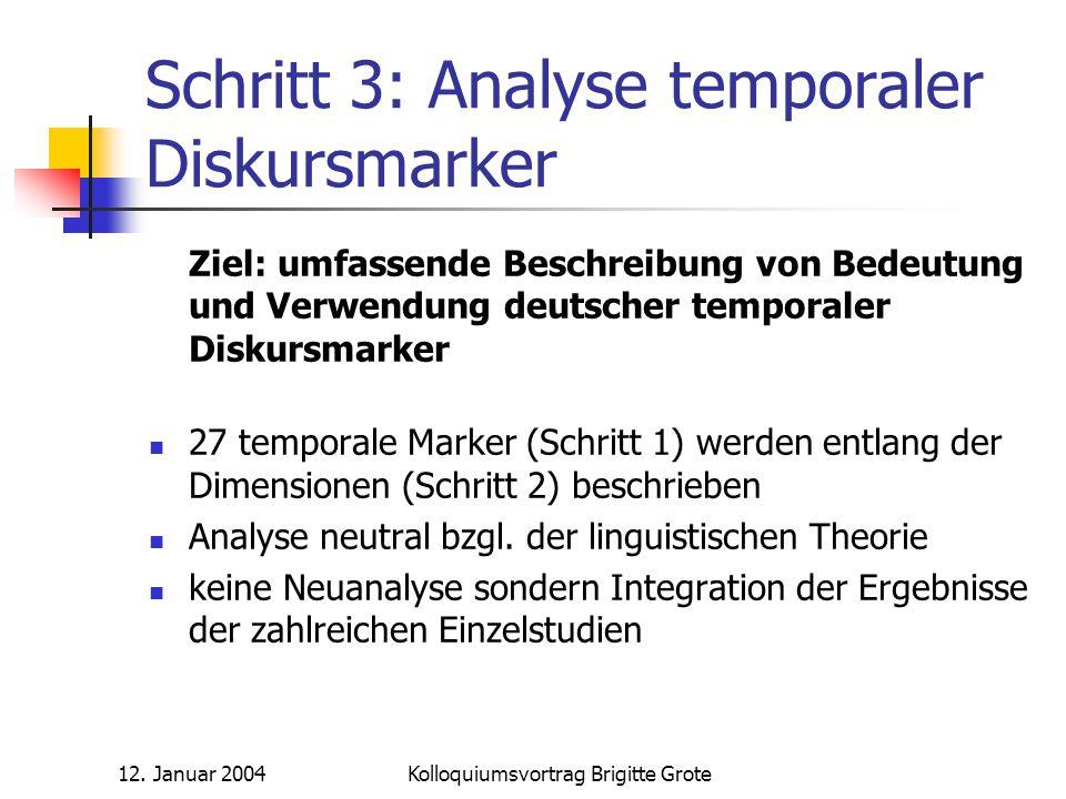 Schritt 3: Analyse temporaler Diskursmarker
