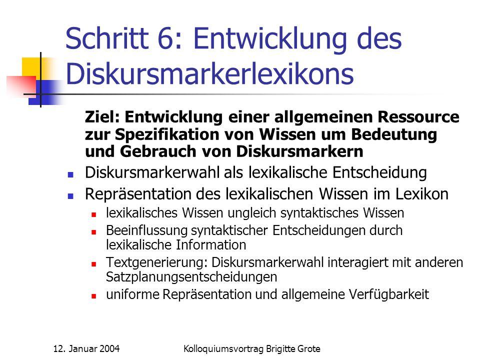Schritt 6: Entwicklung des Diskursmarkerlexikons