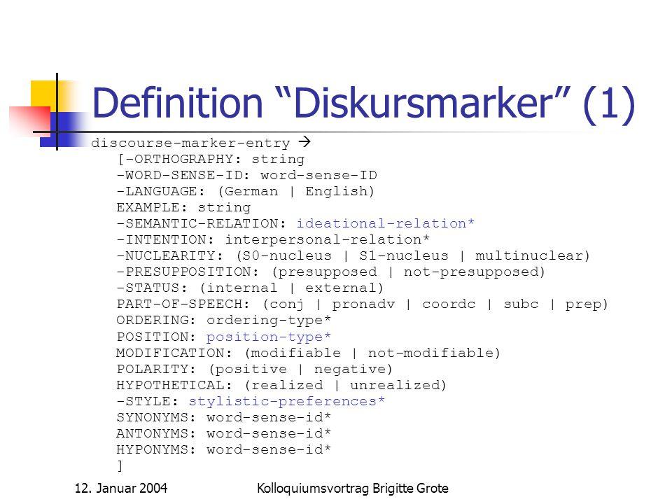 Definition Diskursmarker (1)