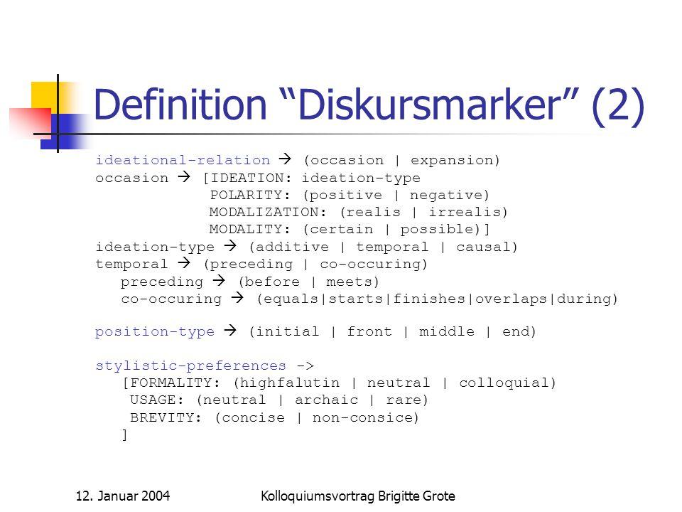 Definition Diskursmarker (2)