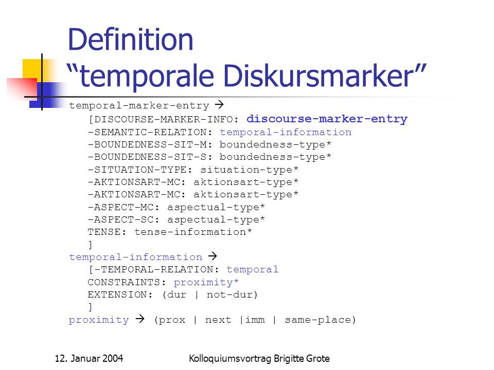 Definition temporale Diskursmarker