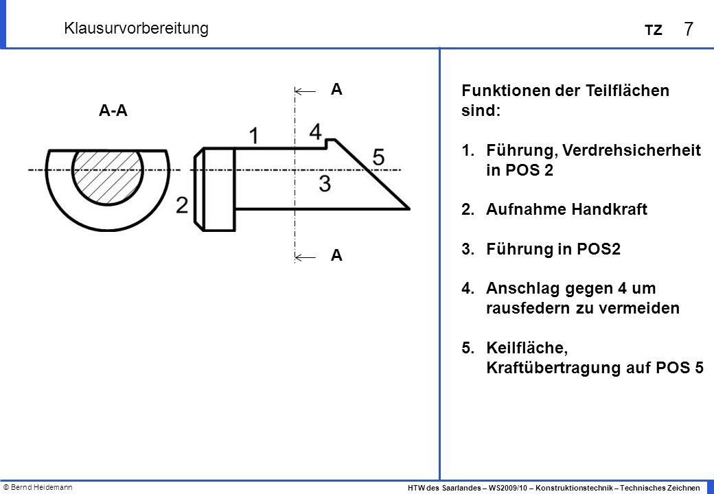 Klausurvorbereitung A. Funktionen der Teilflächen sind: Führung, Verdrehsicherheit in POS 2. Aufnahme Handkraft.