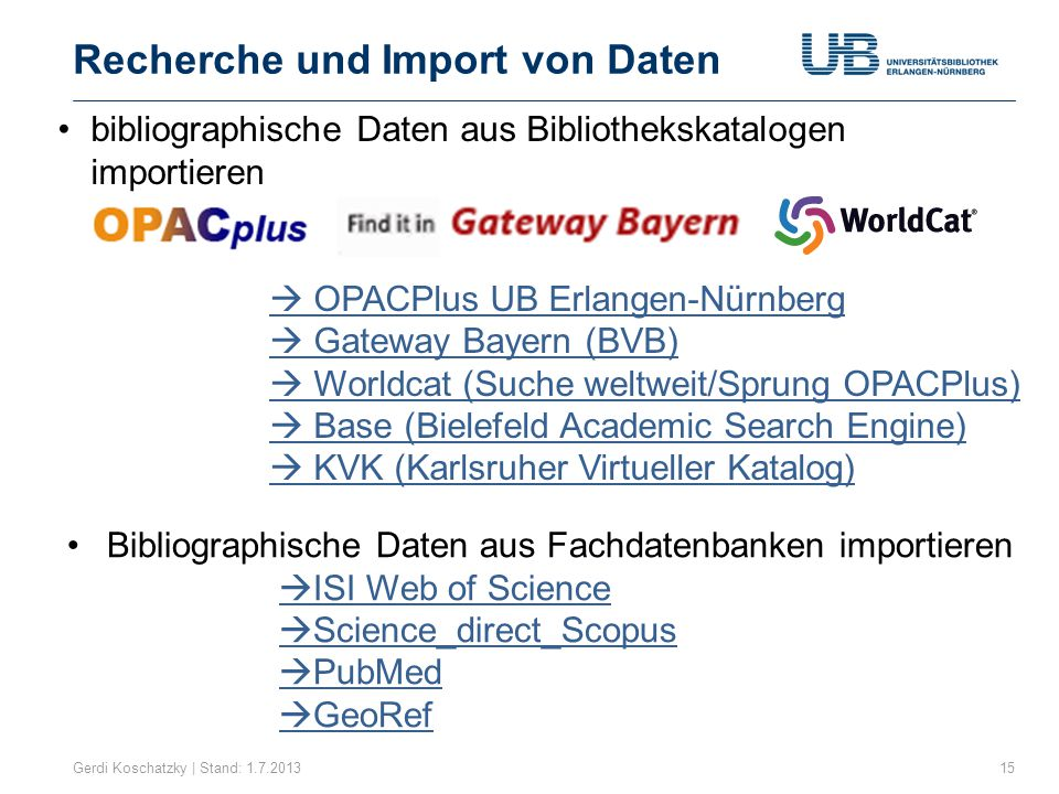 Recherche und Import von Daten