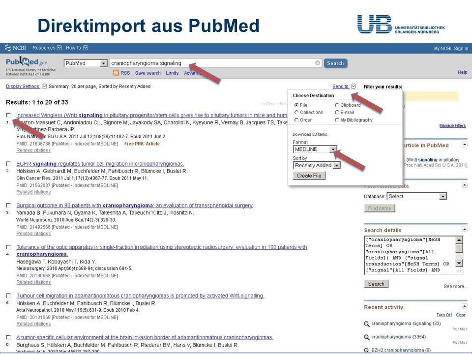 Direktimport aus PubMed