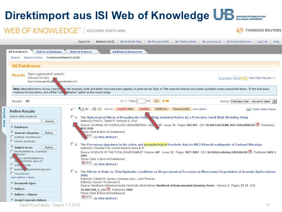 Direktimport aus ISI Web of Knowledge