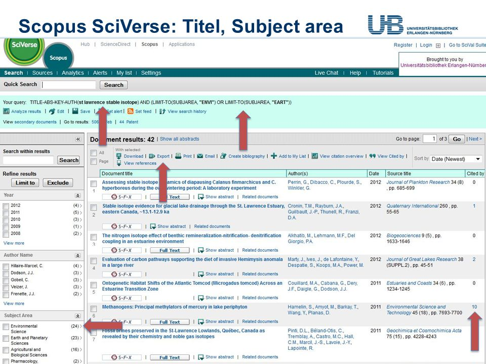 Scopus SciVerse: Titel, Subject area