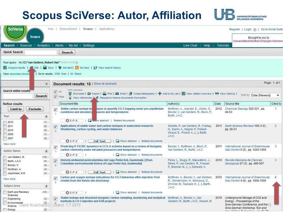 Scopus SciVerse: Autor, Affiliation